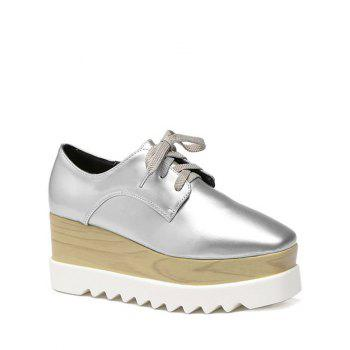 Stylish Square Toe and Lace-Up Design Women's Platform Shoes - SILVER 37
