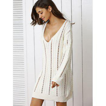 Stunning Plunge Neck Crochet Long Sleeve Sweater Dress - ONE SIZE ONE SIZE