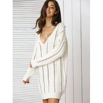 Stunning Plunge Neck Crochet Long Sleeve Sweater Dress - OFF WHITE ONE SIZE
