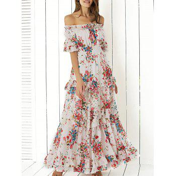 Off Shoulder Floral Long Flounce Dress for Wedding