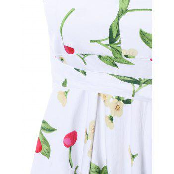 Garden Air Floral and Cherry Print Dress - WHITE S