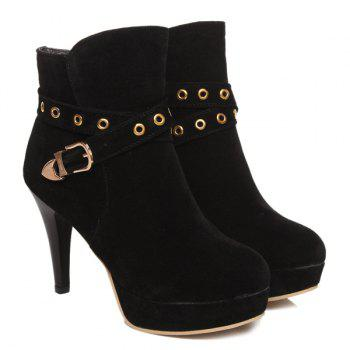 Stylish Eyelet and Buckle Design Women's Ankle Boots - BLACK 39