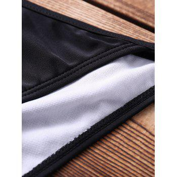 Sexy Halter   Solid Color Hollow Out Women's Bikini Set - BLACK S