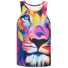Round Neck Animal Printed Colorful Tank Top
