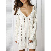 Stunning Plunge Neck Crochet Long Sleeve Sweater Dress