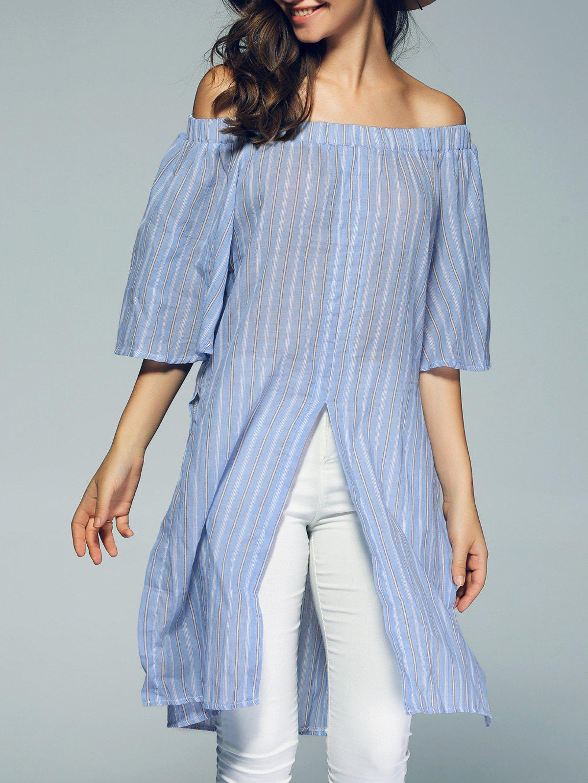 Sweet Off The Shoulder Stripe Semi Sheer Slit Long Blouse - LIGHT BLUE XL