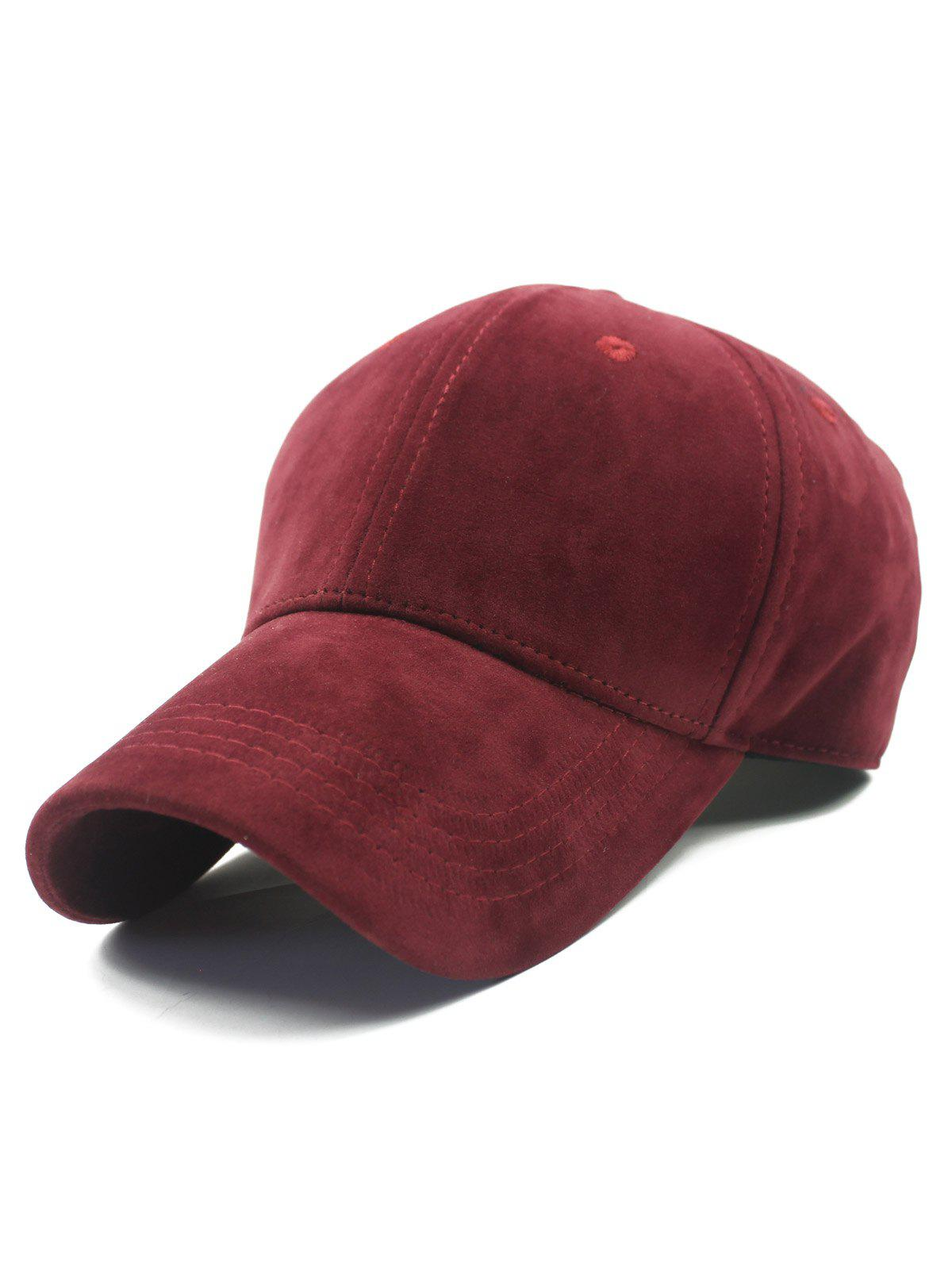 Stylish Adjustable Buckle Faux Suede Baseball Hat - WINE RED