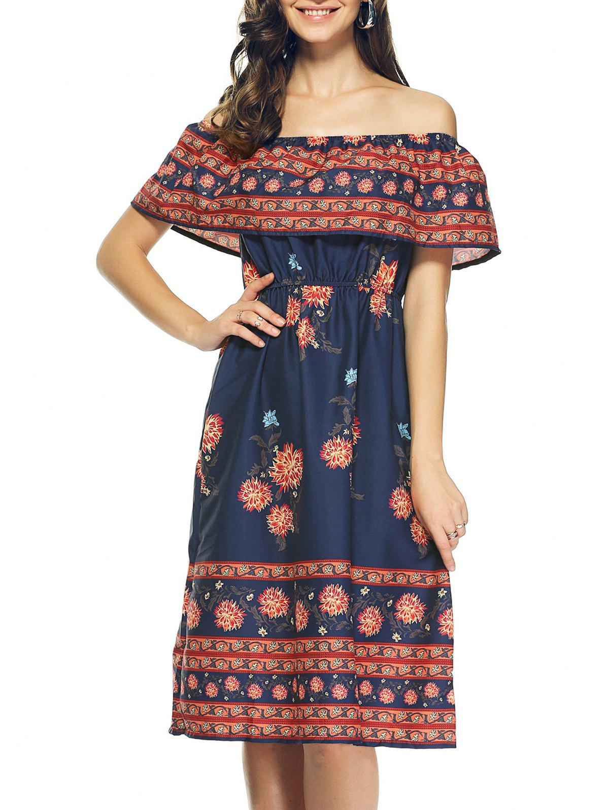 Bohemian Off The Shoulder Tribal Print Capelet Dress - PURPLISH BLUE M