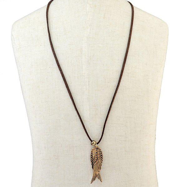 A Pair of Angel Wing Rope Necklace - GOLDEN