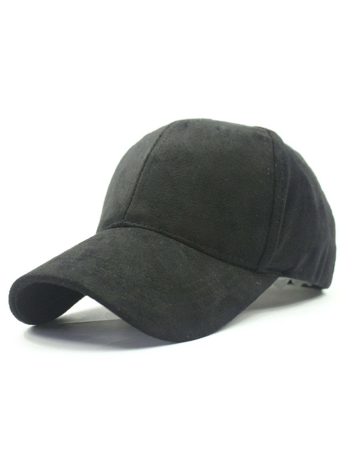 Stylish Solid Color Faux Suede Baseball Hat - BLACK