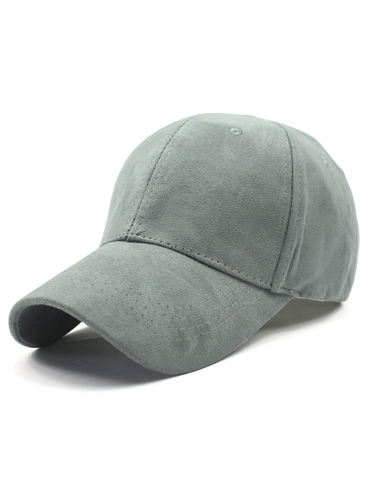 Stylish Solid Color Faux Suede Baseball Hat, Light gray