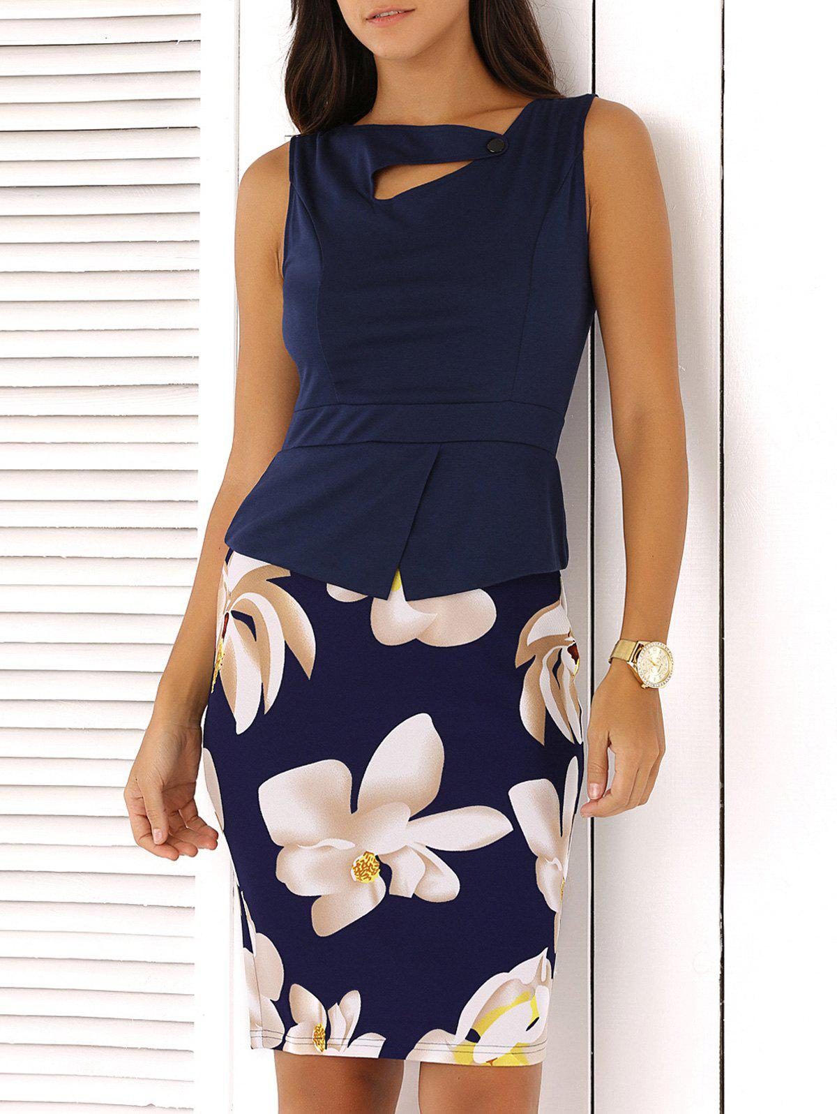 False Two Piece Waisted Floral Pattern Dress