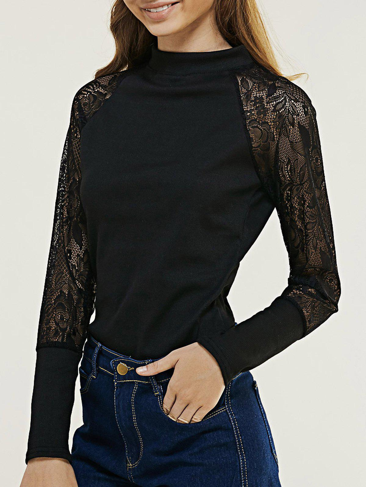 Stylish Raglan Sleeve Lace Top For Women - BLACK ONE SIZE