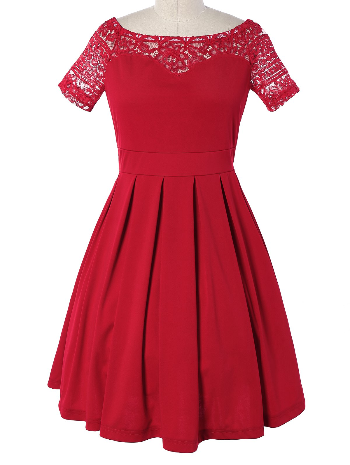 Vintage Lace Spliced Red Pleated Dress - RED XL