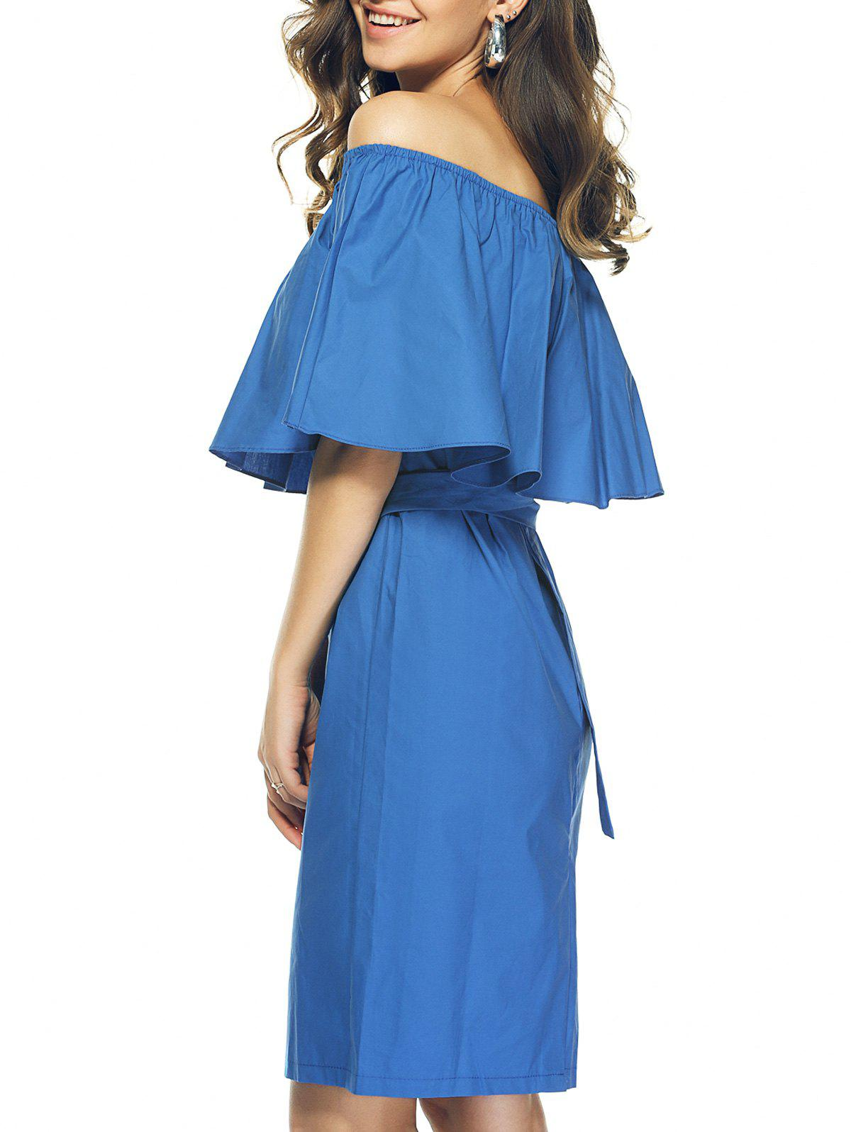 Cute Off The Shoulder Flounced Slimming Multiway Dress - BLUE XL