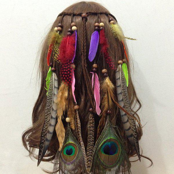 Fashional Peacock Feather Tassel Hair Accessory For Women - COLORFUL