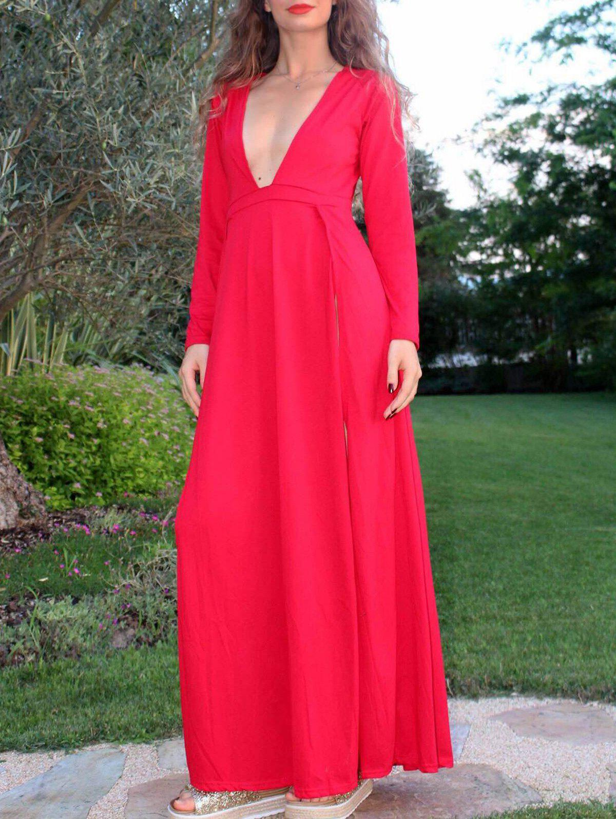 Plunging Neck High Furcal Long Sleeve Dress For Women - RED M