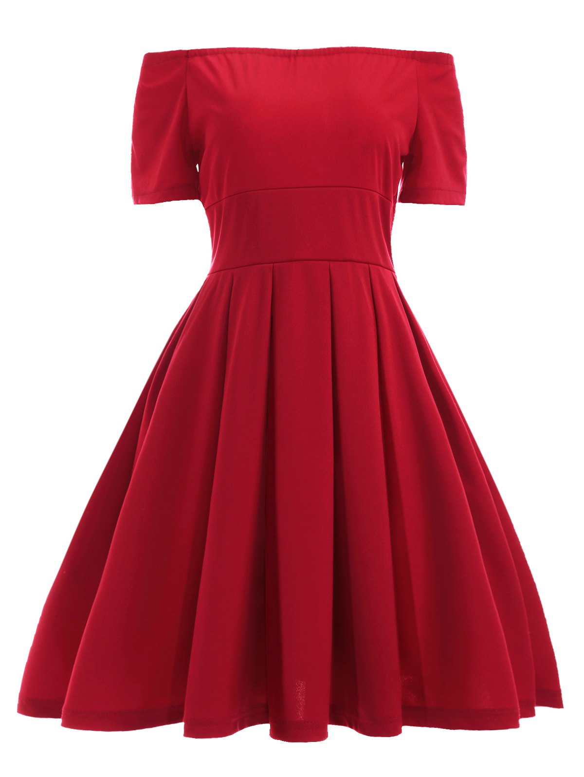 Vintage Off The Shoulder Convertible Red Pleated Dress, RED, M in ...