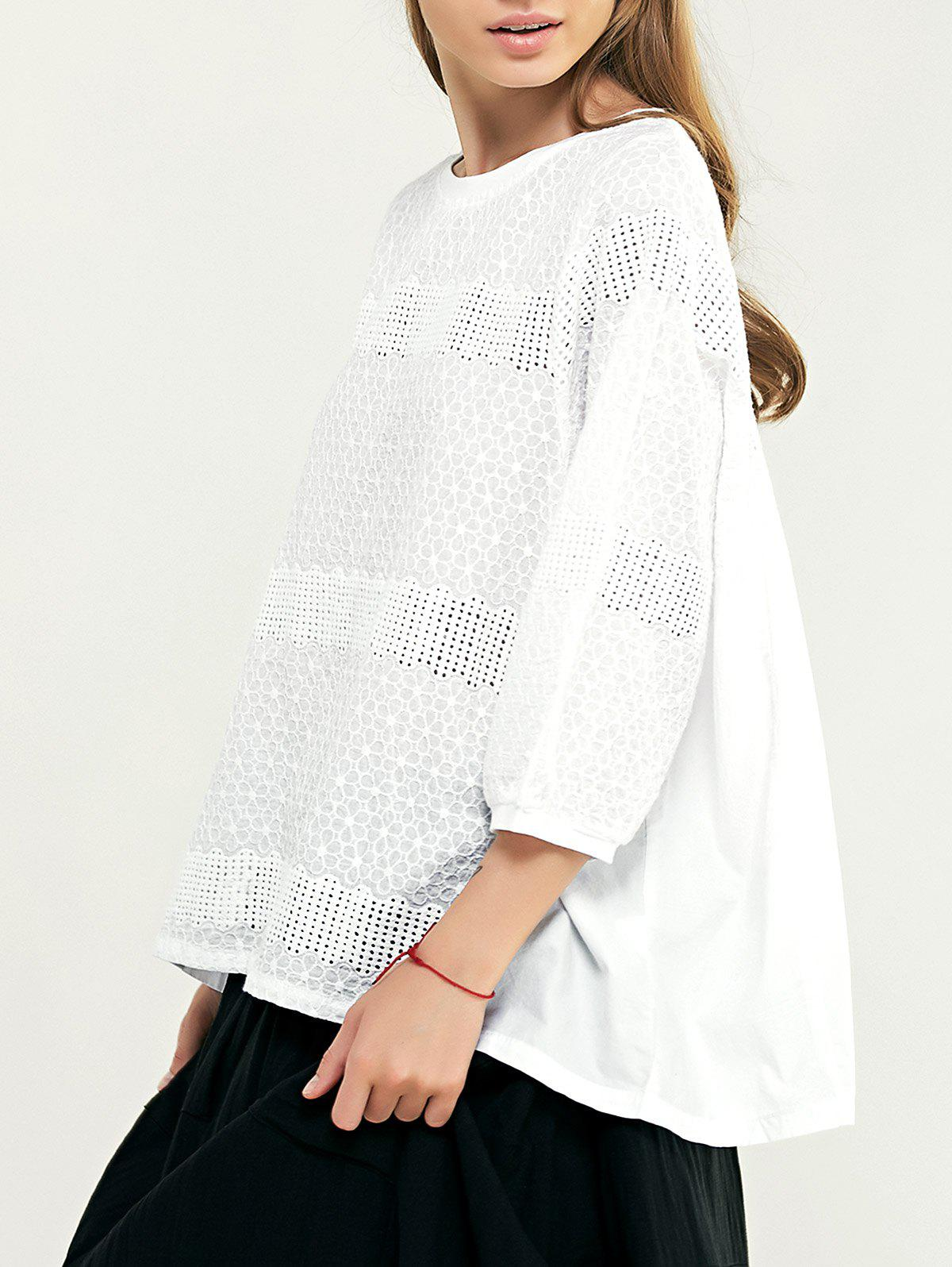 Simple Women's Openwork Floral Embroidered Blouse - WHITE M