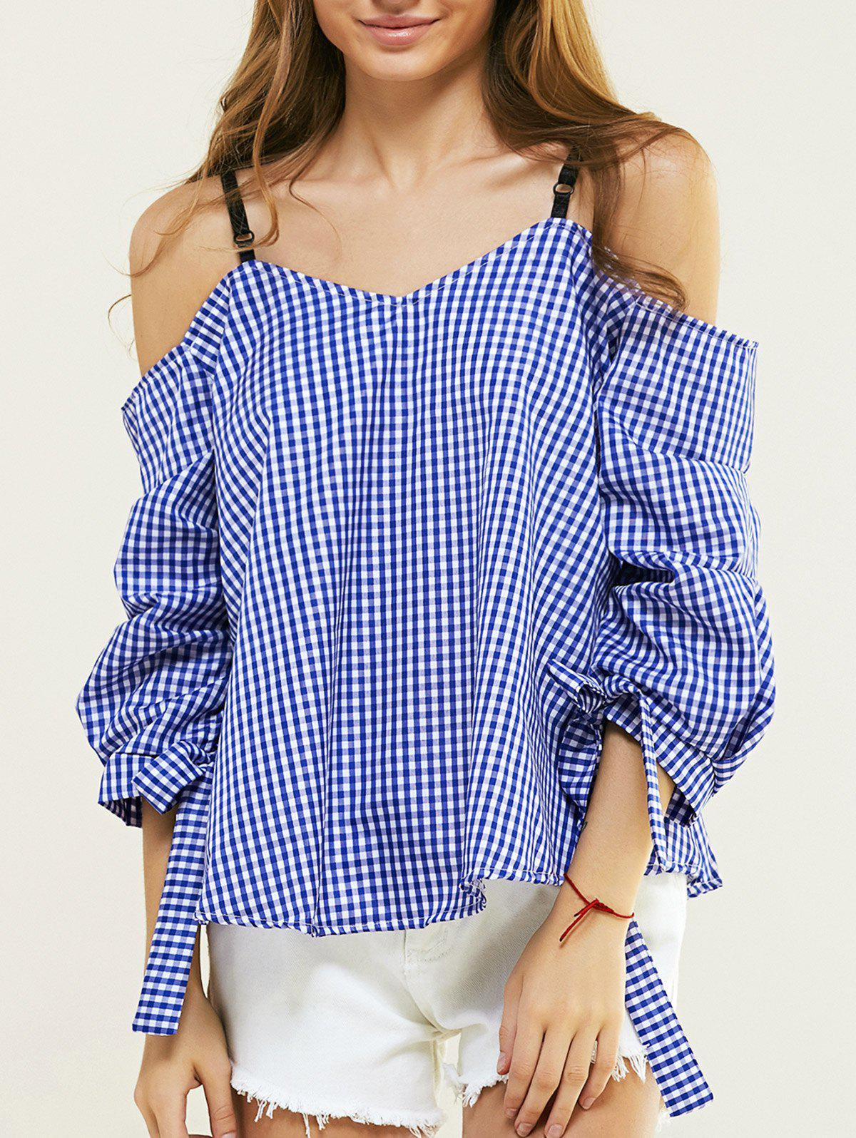 Casual Cold Shoulder Checkered Blouse For Women - BLUE XL