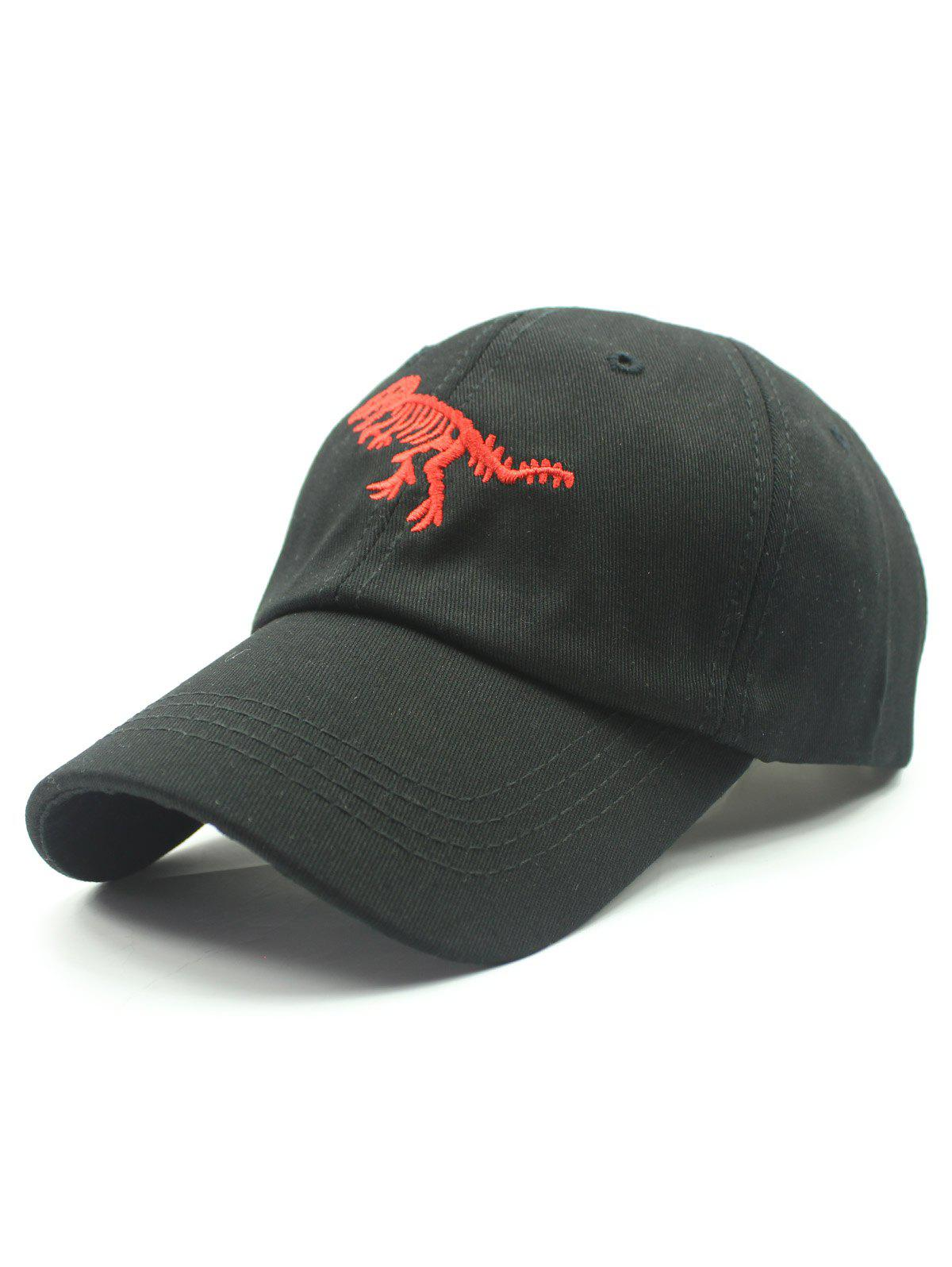 Stylish Dinosaur Embroidery Baseball Hat - BLACK