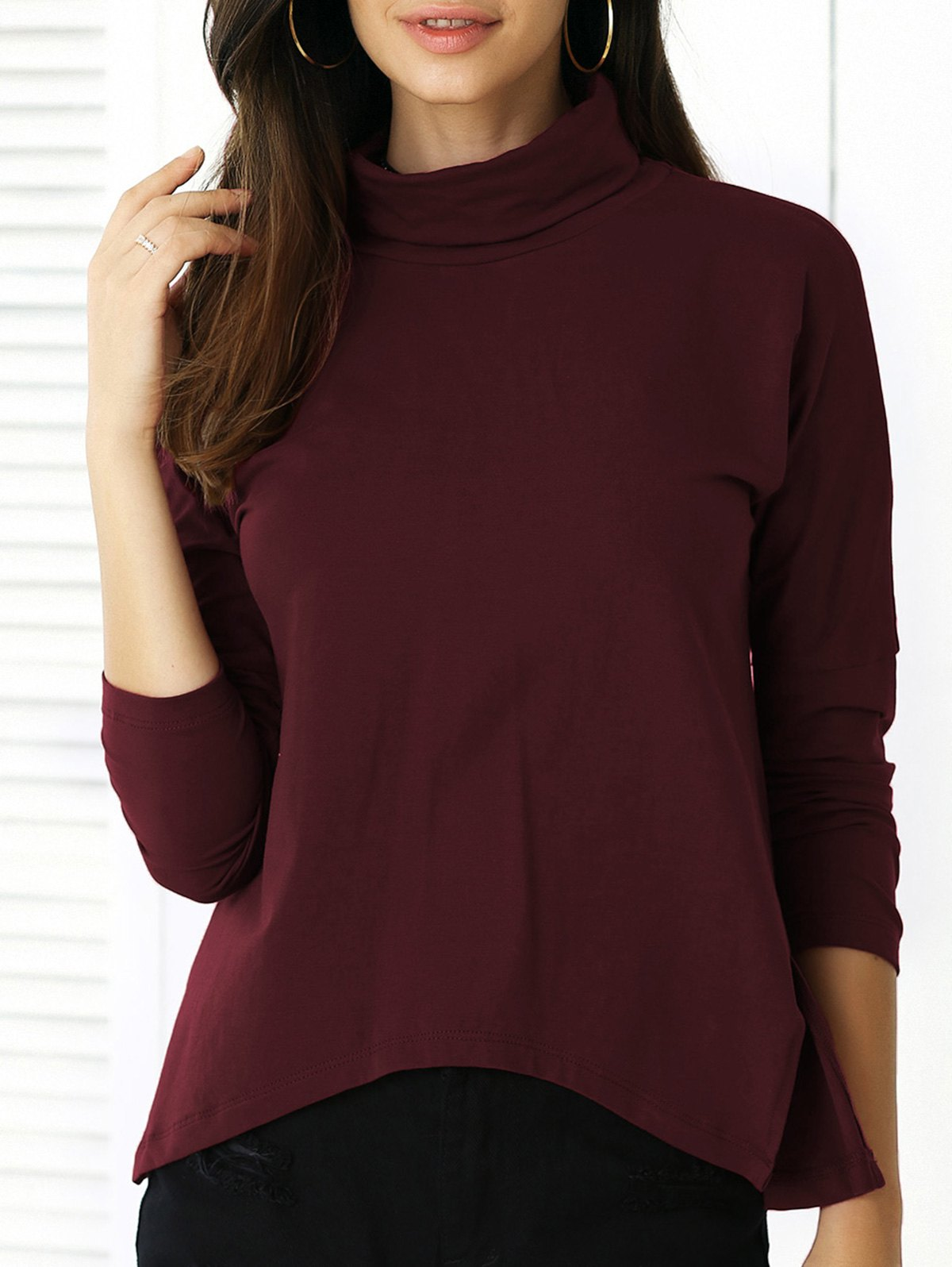 Pure Color Irregular Hem Long Sleeve Tee - DARK RED XL