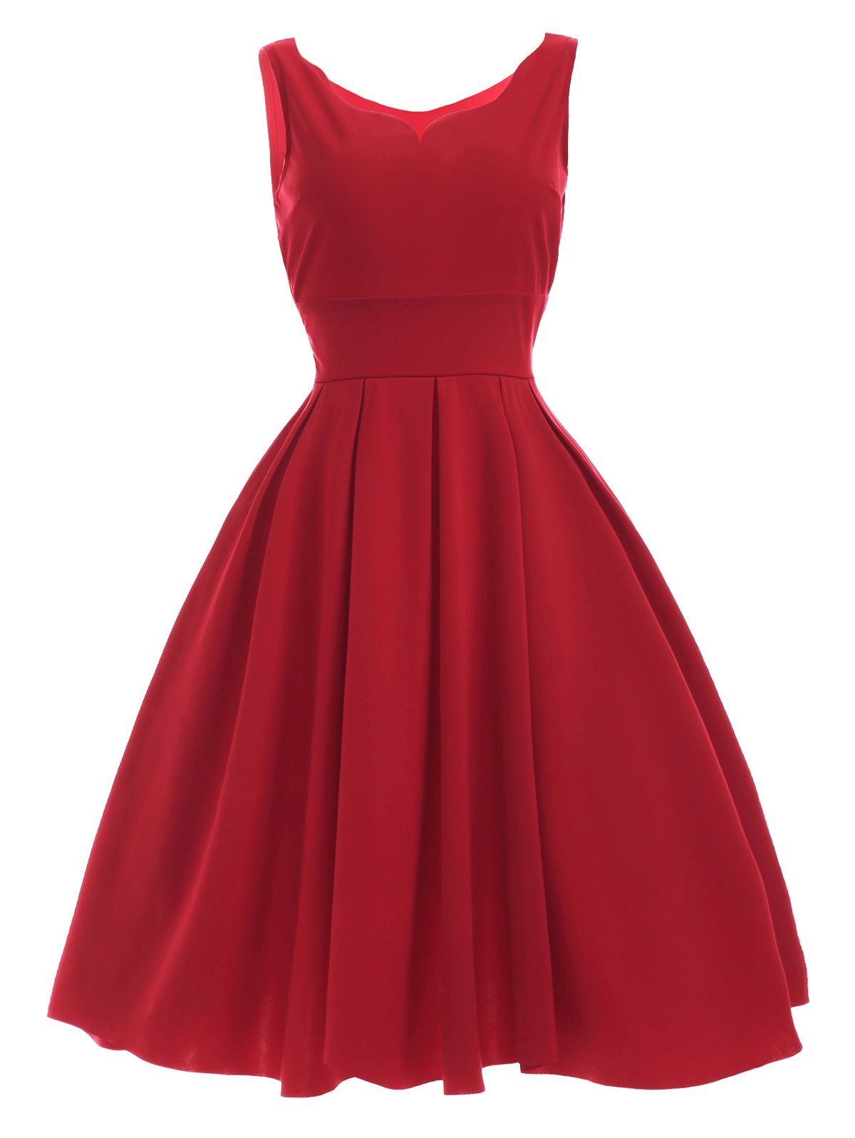Vintage Sweetheart Neck Red Pleated Dress - RED XL