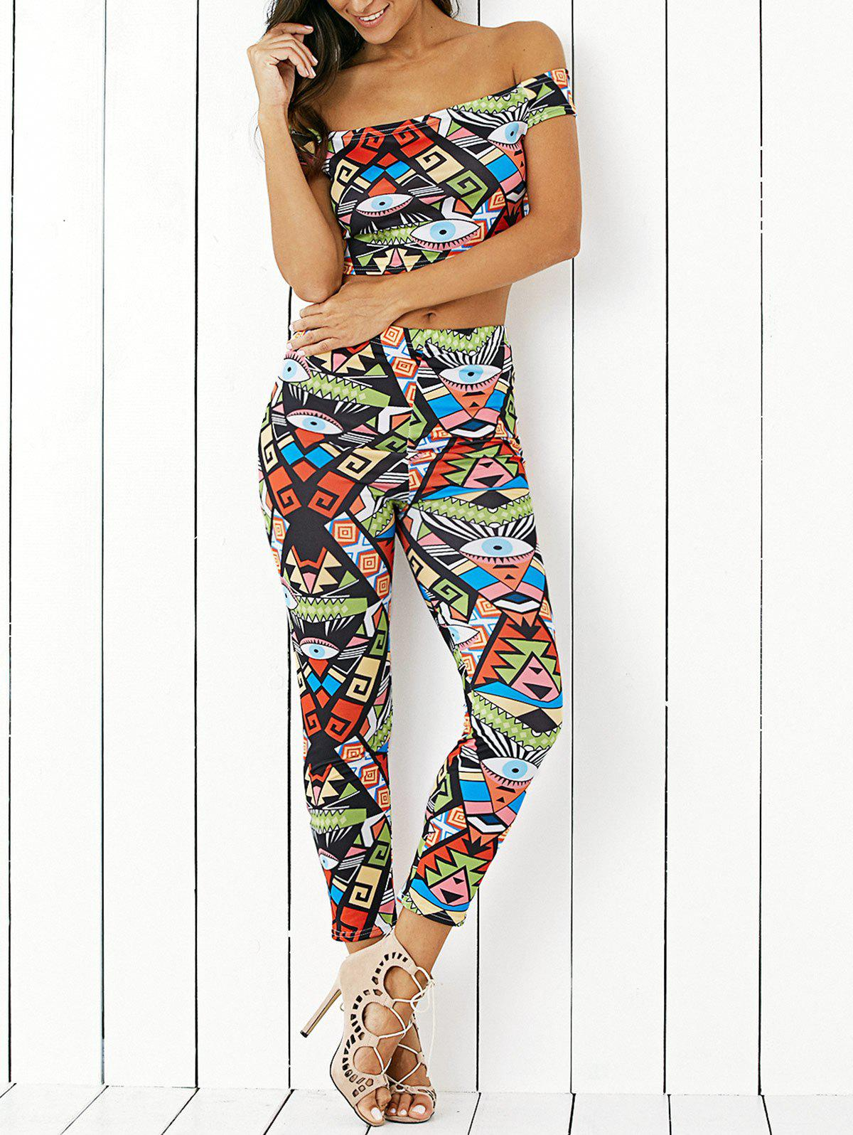 Stylish Off The Shoulder Print Crop Top and Skinny Ninth Pants Twinset fitting crop top and skinny running pants and zip up jacket