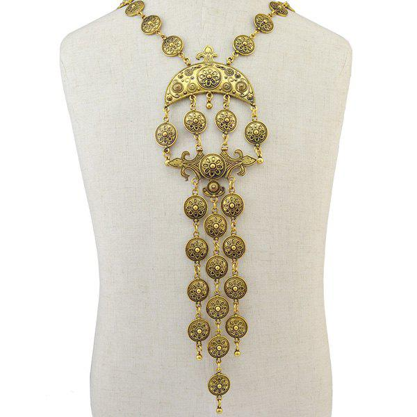 Retro Moon Tassel Floral Round Necklace and Earrings - GOLDEN