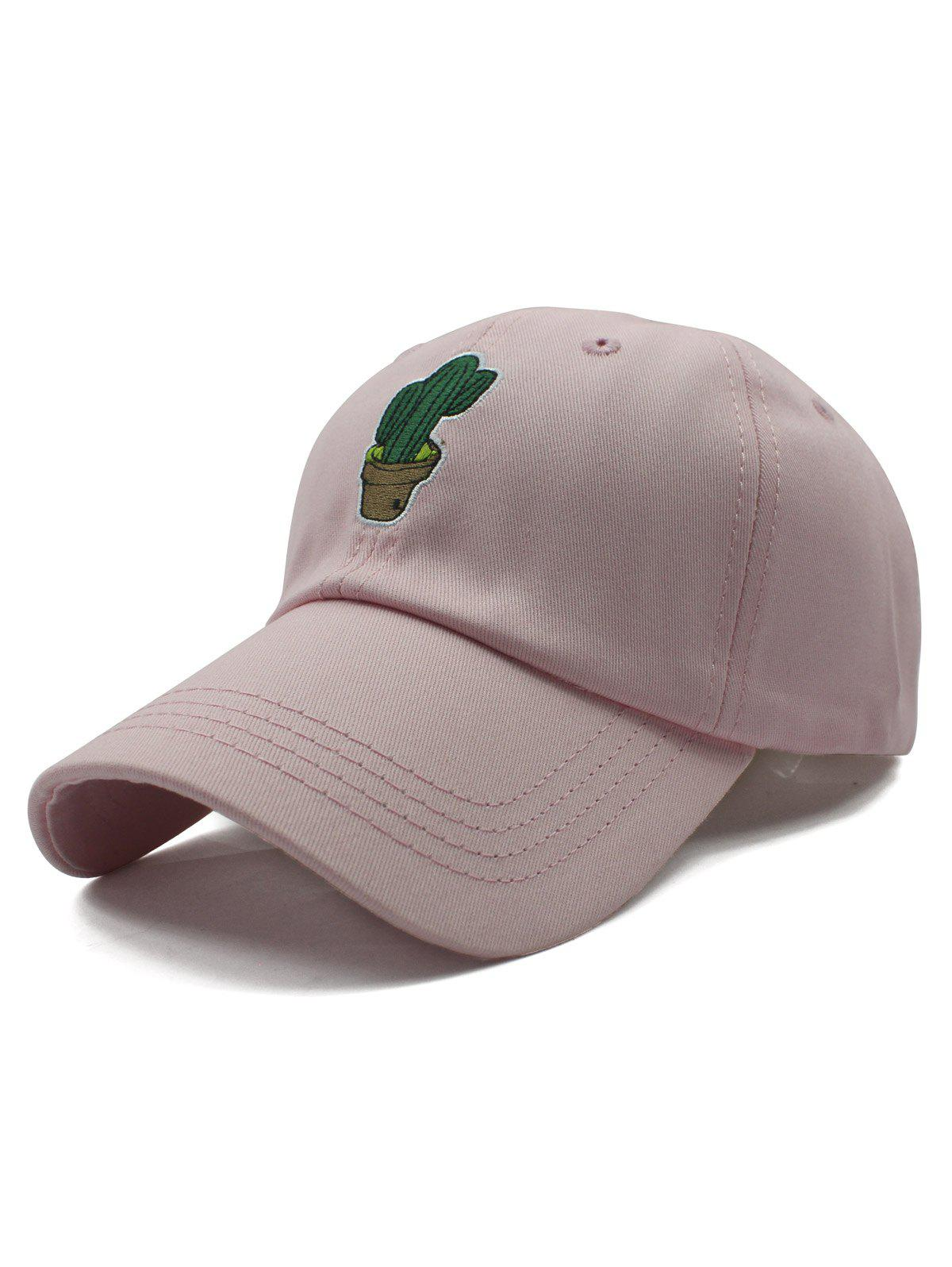Stylish Potted Cactus Embroidery Baseball Hat - PINK
