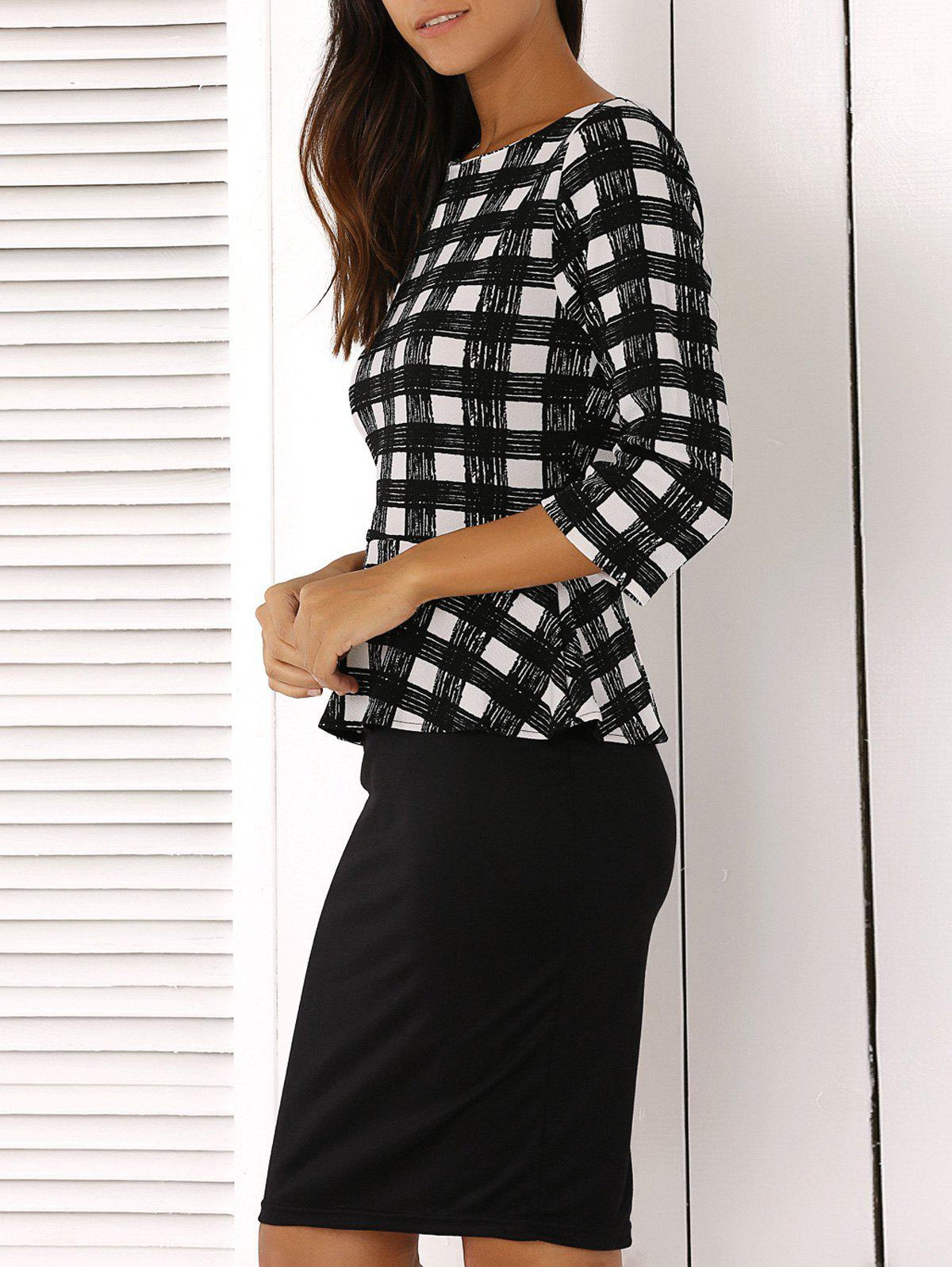 False Two Piece Splicing Plaid Dress - BLACK 2XL