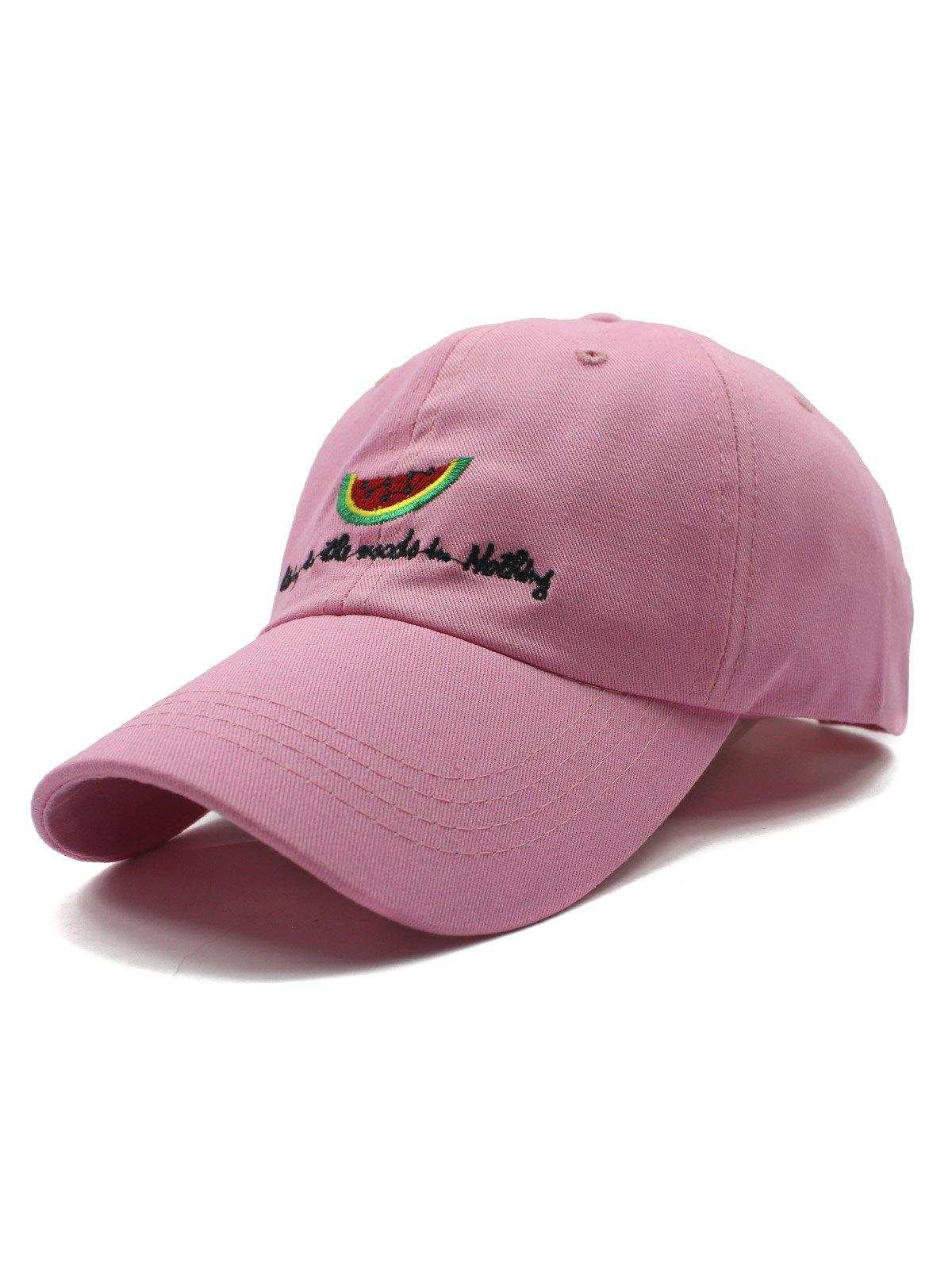 Stylish Watermelon and Letter Embroidery Baseball Hat - PINK