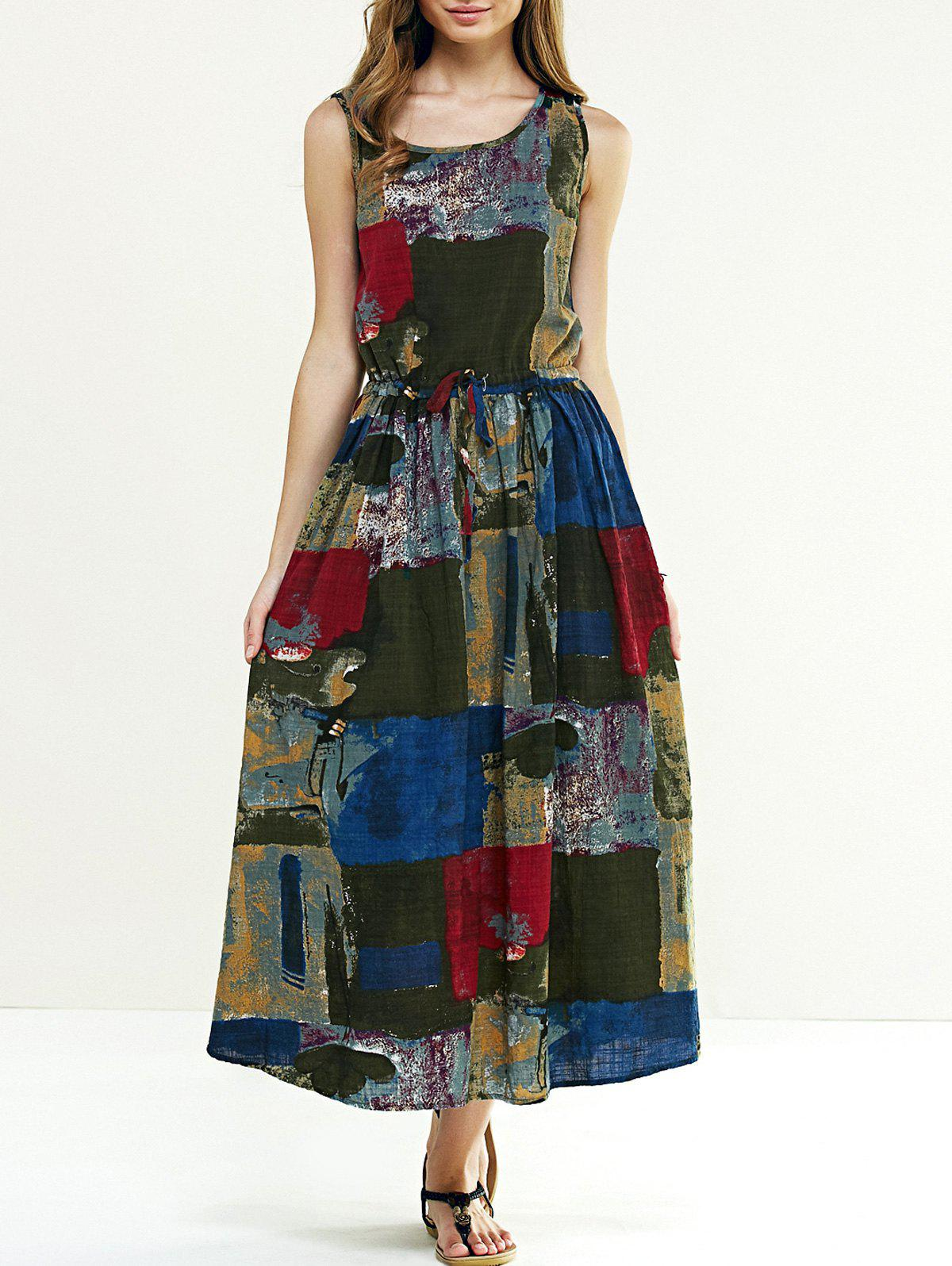 Simple Women's Tie-Dyed Maxi Dress - COLORMIX ONE SIZE