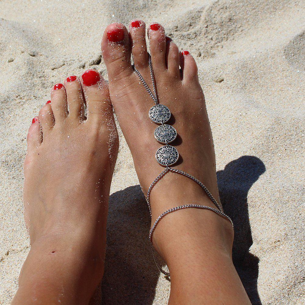 Retro Style Carving Floral Pattern Round Anklet For Women - SILVER