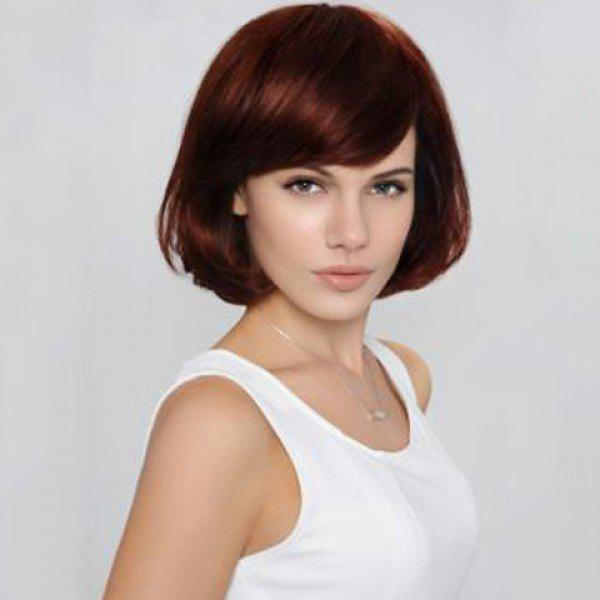 Bob Style Side Bang Capless Stylish Brown Side Bang Synthetic Wig For Women