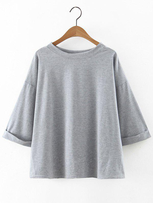 Stylish Solid Color Loose Fitting T-Shirt - GRAY ONE SIZE