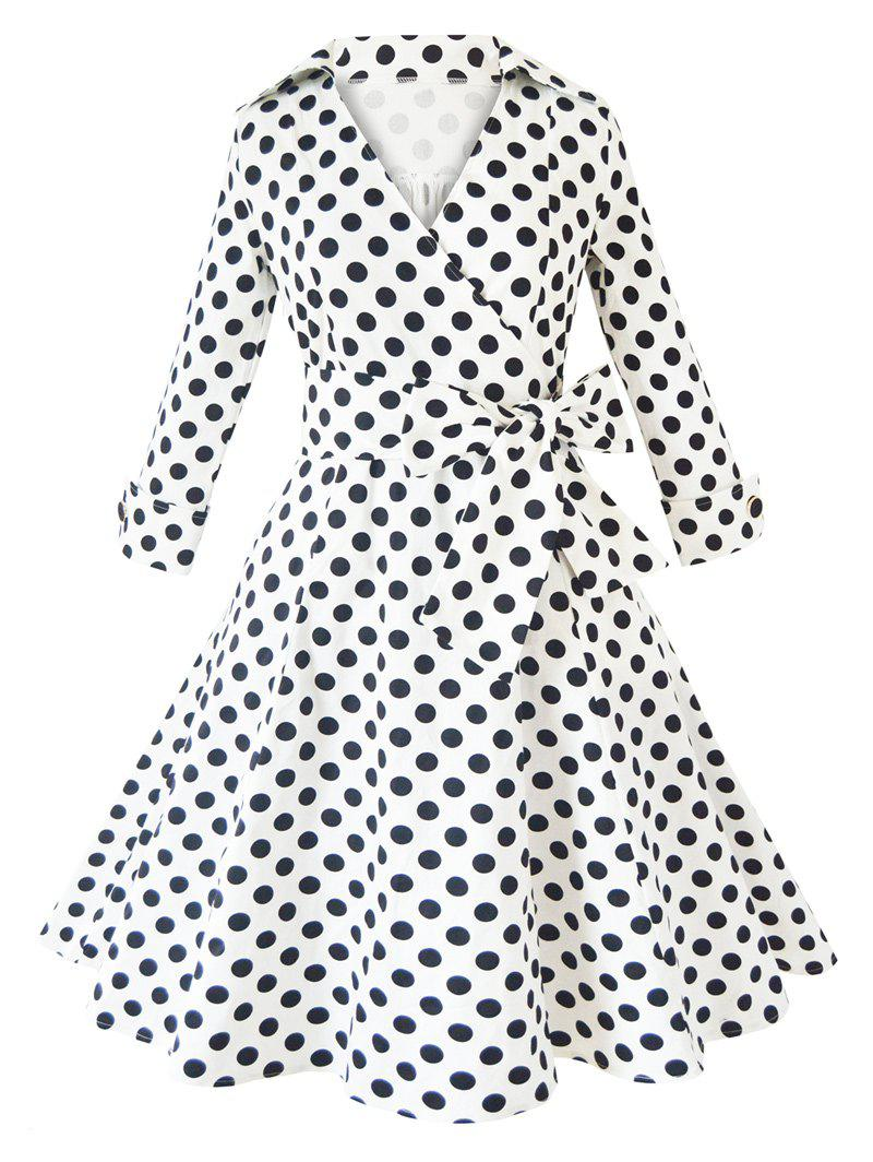 Stylish V Neck Polka Dot Long Sleeve Pleated Dress - WHITE 2XL