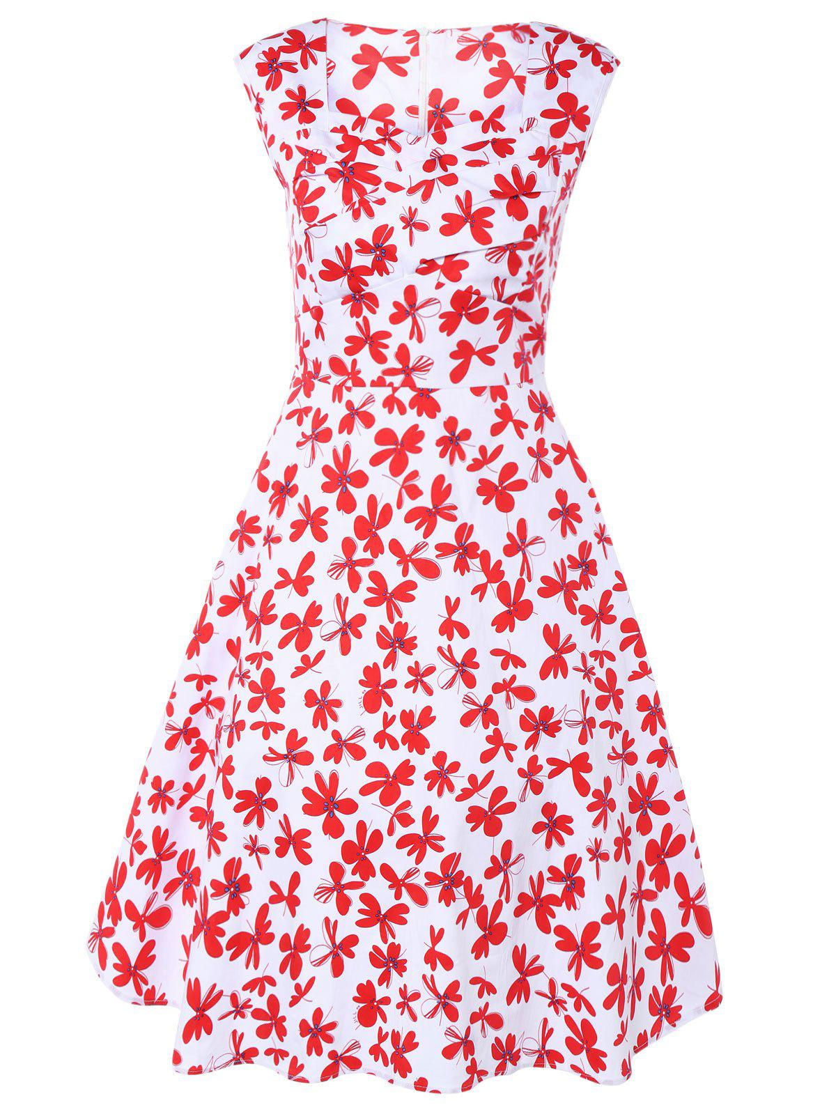 Sweetheart Neck Retro Floral Print Vest Flare Dress - RED/WHITE 4XL