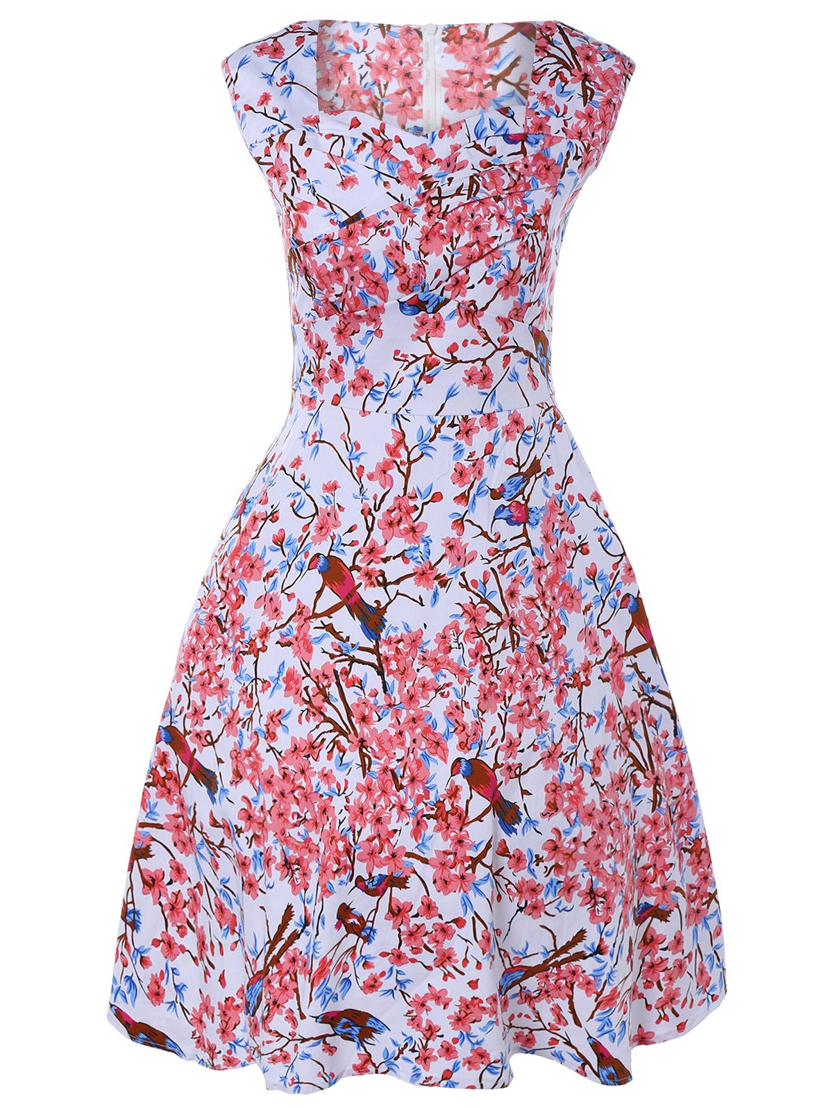 Sleeveless Sweetheart Neck Retro Floral Flare Dress - COLORMIX 4XL