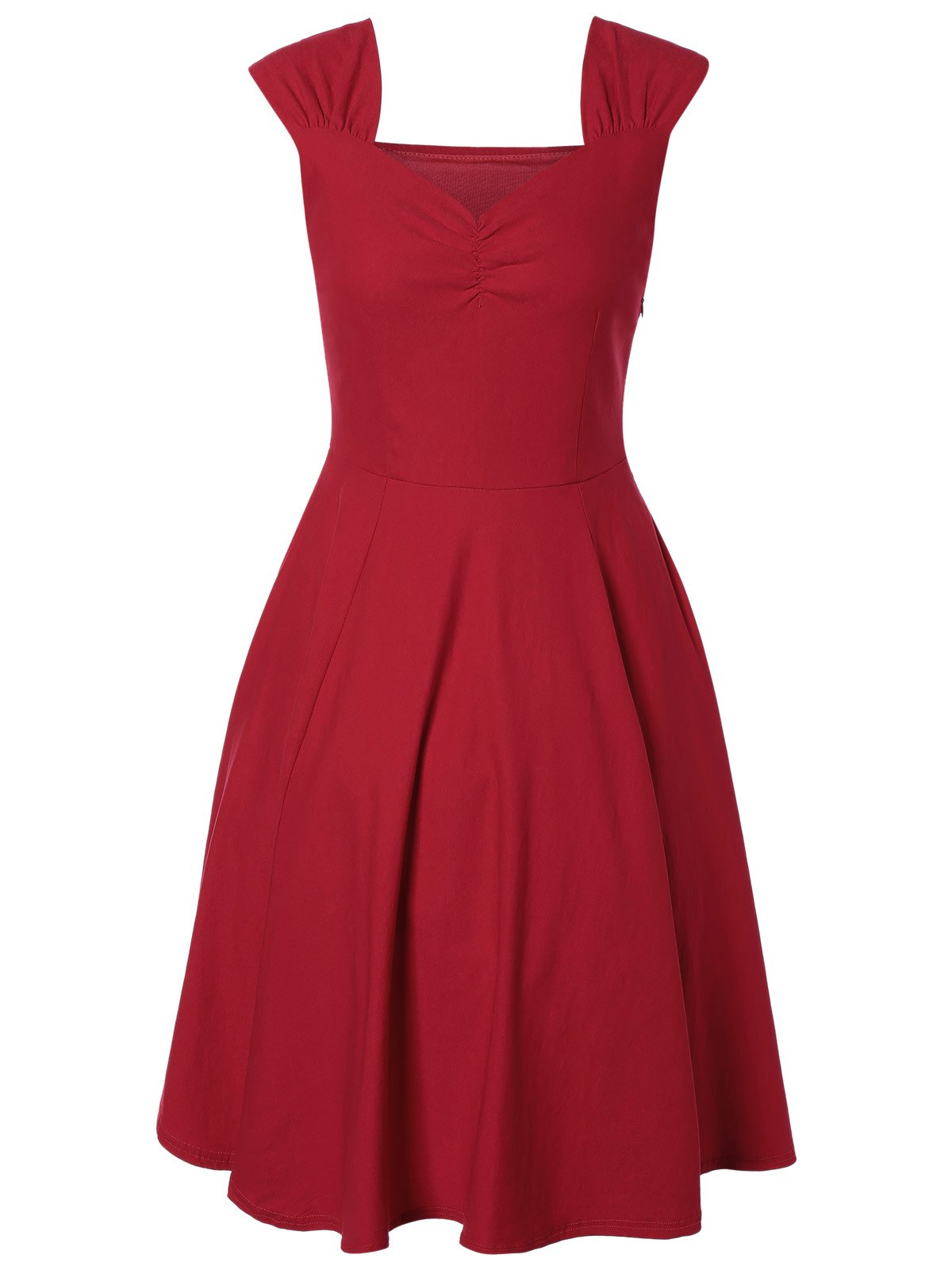 Stylish Sweetheart Neck Solid Color Pleated Knee-Length Dress
