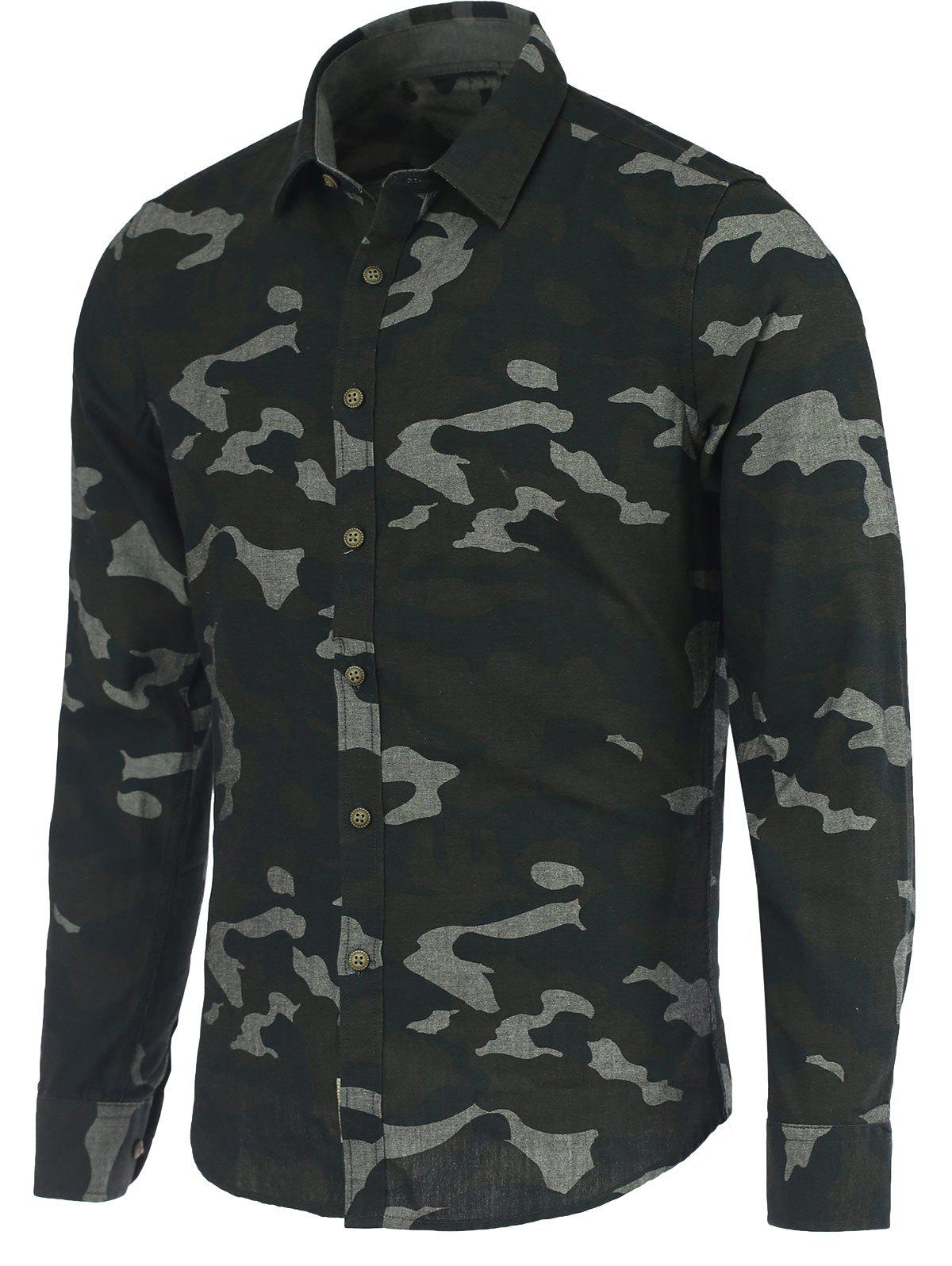 Camouflage Pattern Turn-Down Collar Long Sleeve Shirt - DEEP GRAY 3XL