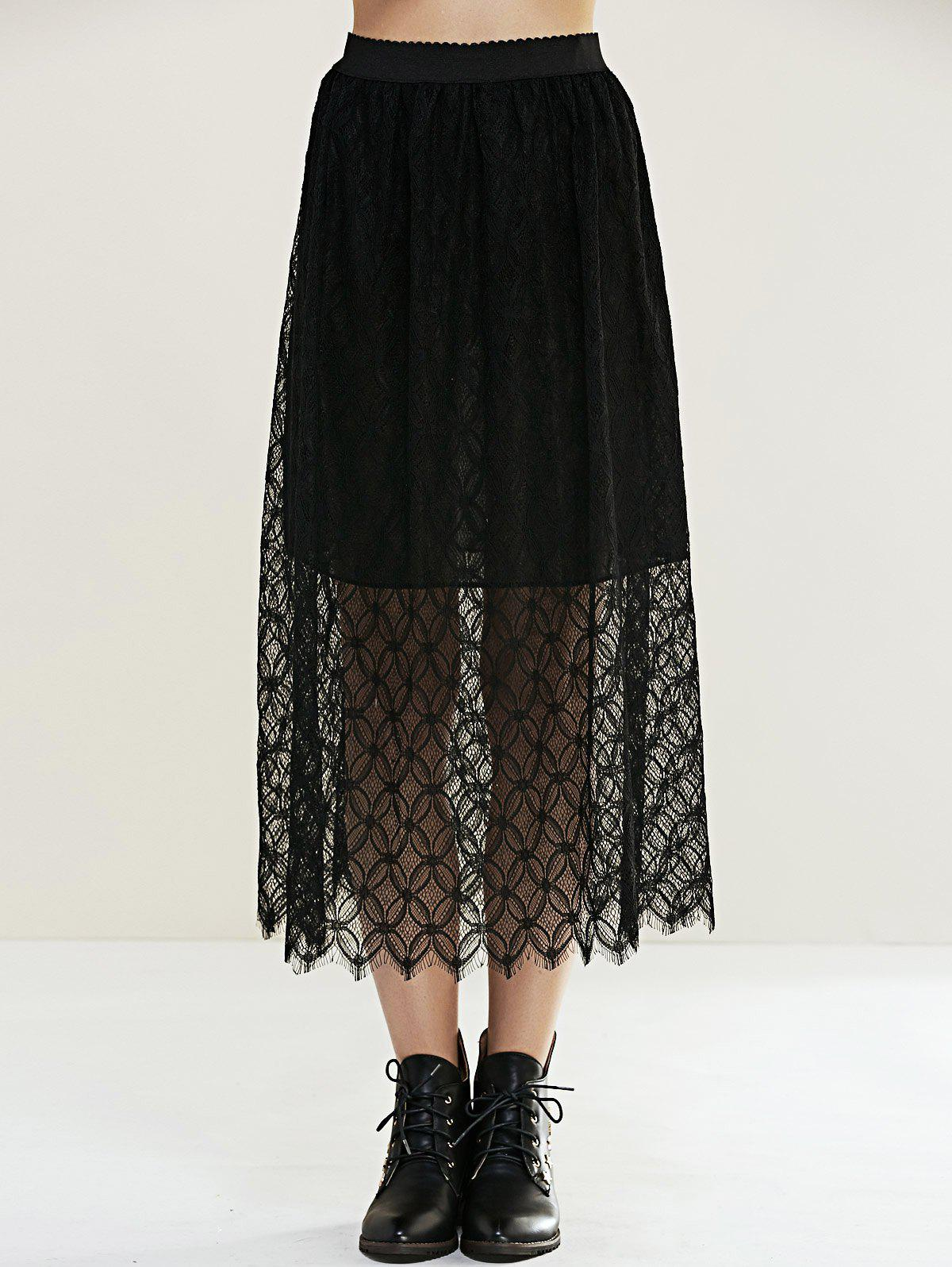Sweet Pure Color Laciness Skirt For Women - BLACK ONE SIZE