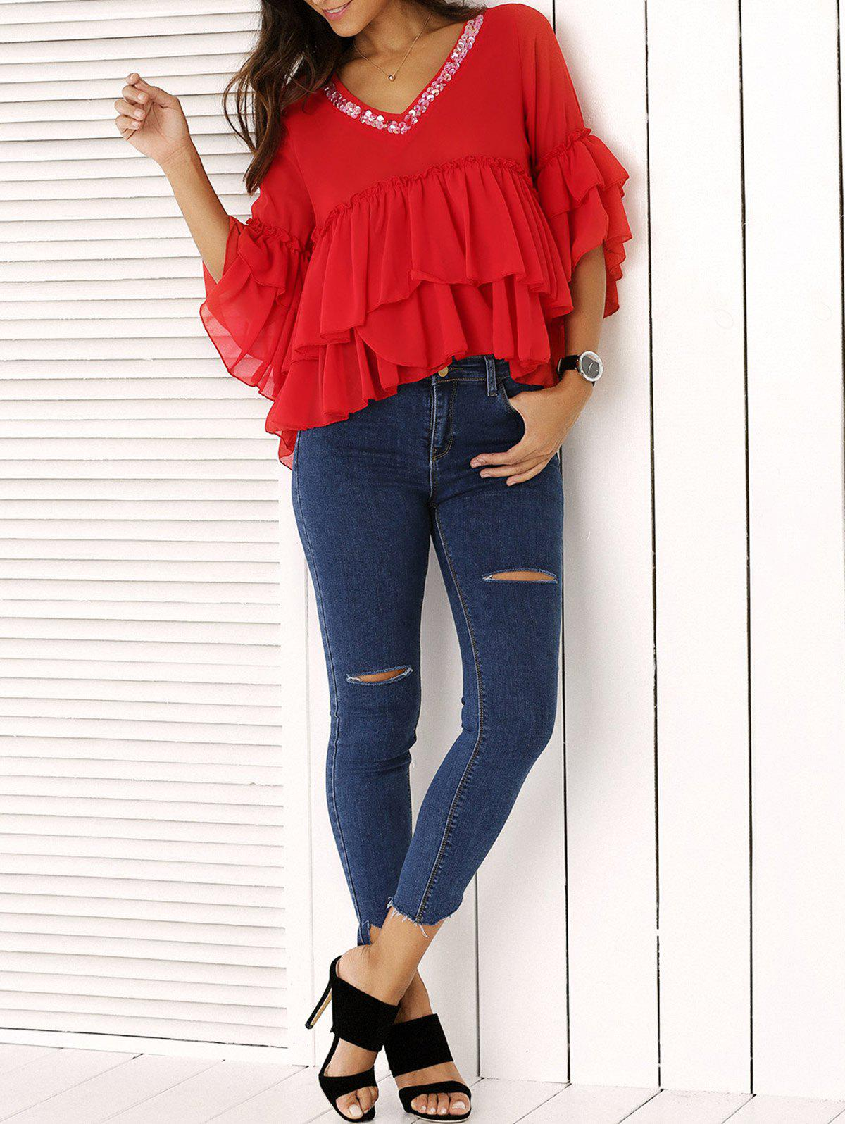 Fashion Frilly V Neck Cropped Blouse and Distressed Skinny Jeans - DENIM BLUE L