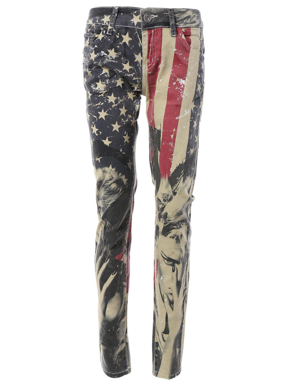 Star American Flag Print Pants - COLORMIX 30