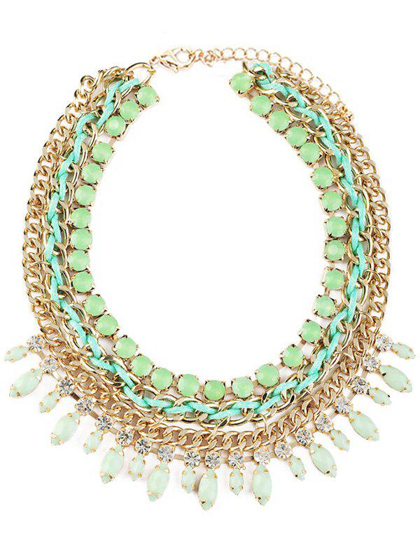 Statement Rhinestone Beaded Necklace - GREEN