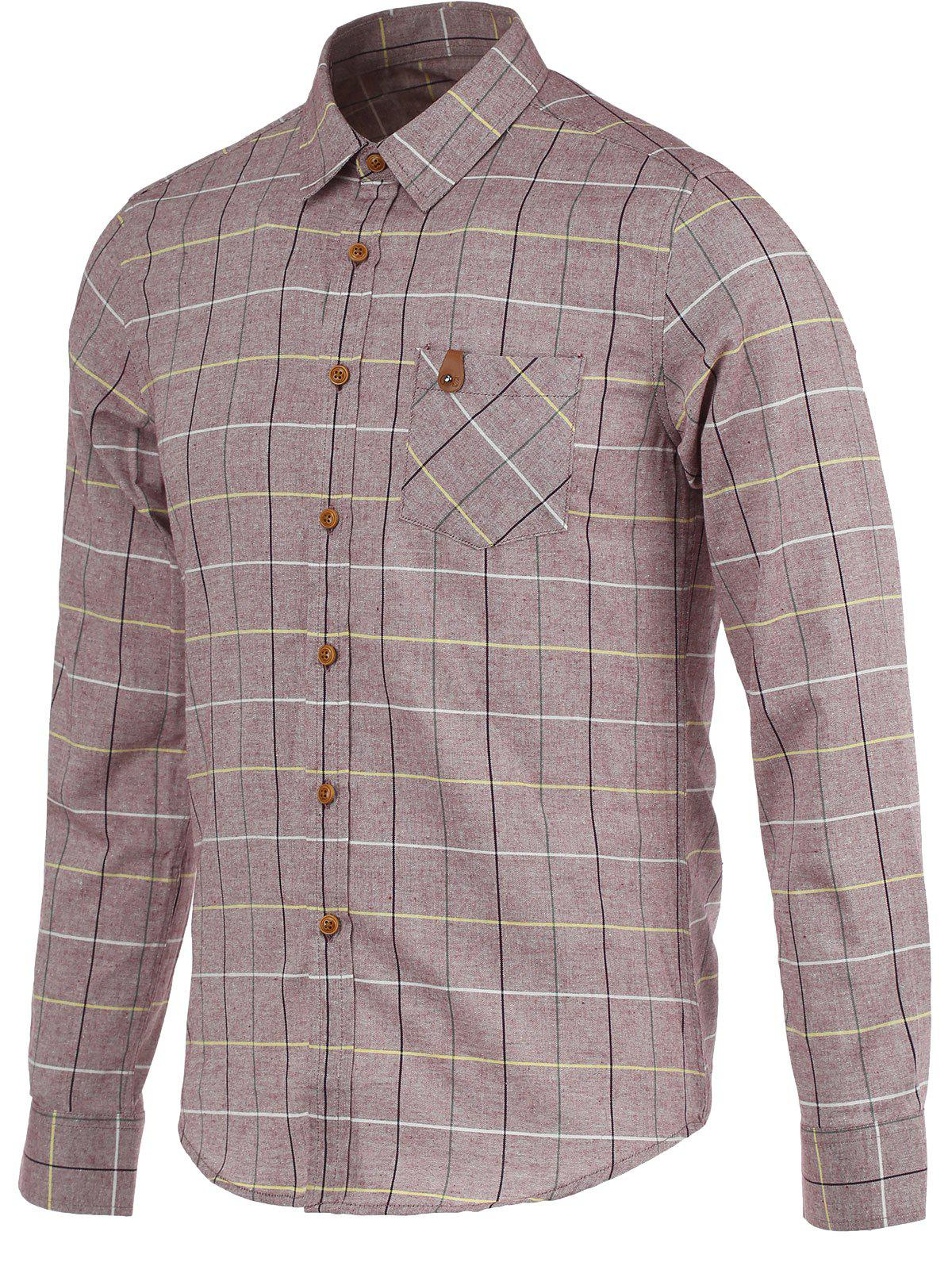 Checked Pocket Turn-Down Collar Long Sleeve Shirt - BRICK RED M