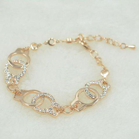 Gold Plated Rhinestone Cut Out Handcuffs Charm Bracelet -  CHAMPAGNE