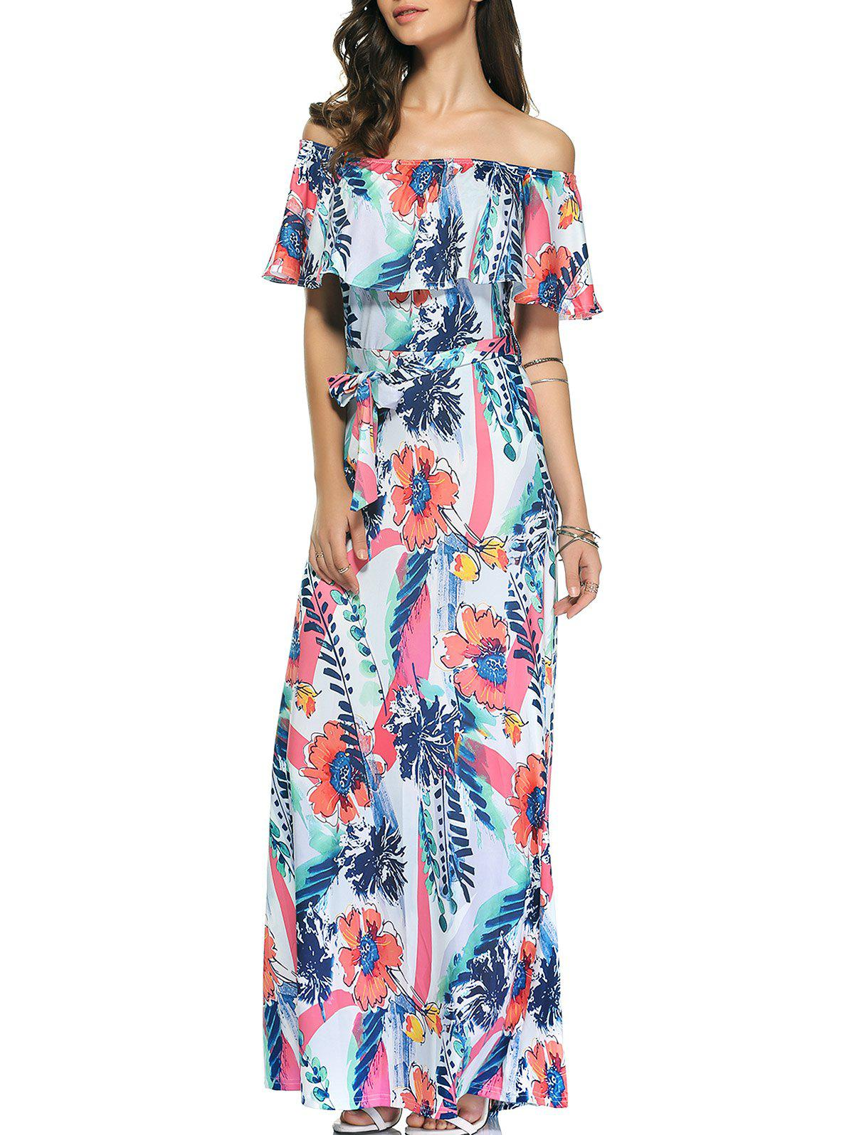 Chic Flounce Off The Shoulder Bowknot Tie Belted Floral Dress For Women