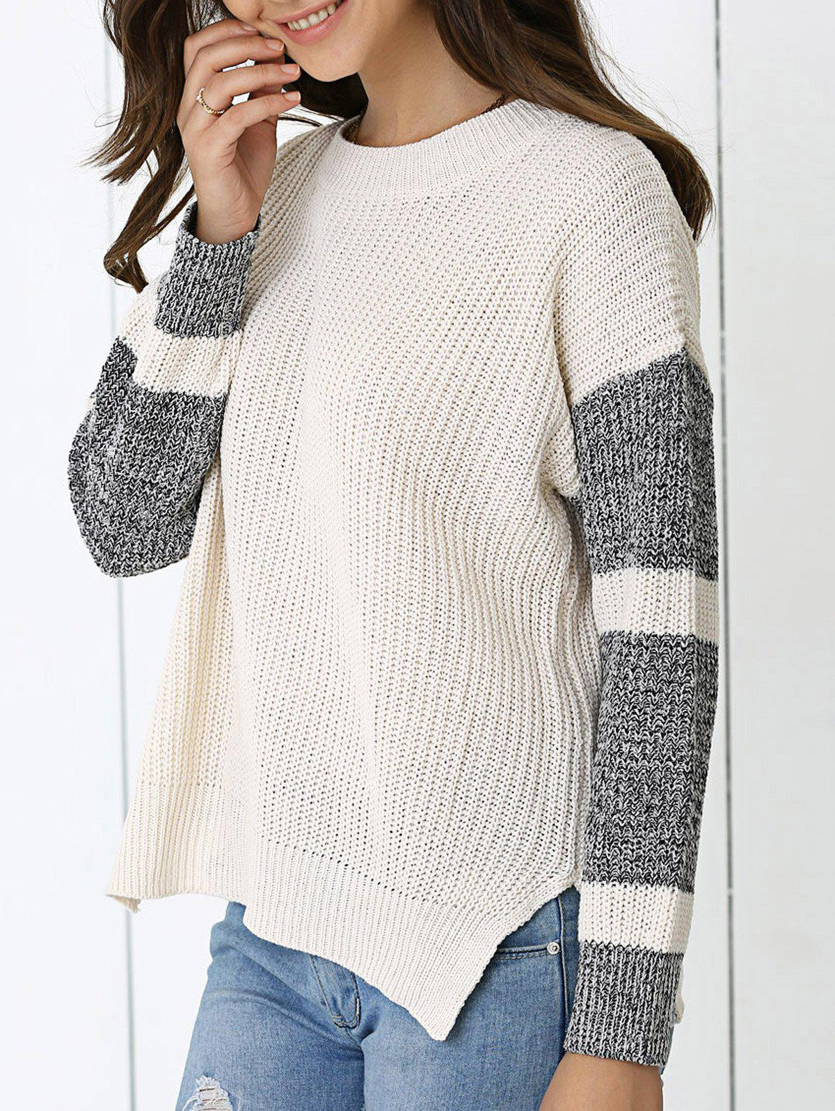 Color Block Loose-Fitting Sweater - APRICOT ONE SIZE