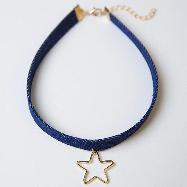 Star Decorated Hollow Out Choker Necklace - BLUE